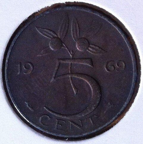 5 Cent 1969, vis, UNC