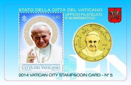 Vaticaanstad 2014 Coincard en Postzegel No 5