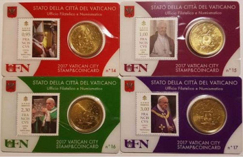 Vaticaanstad 2017 Coincard met postzegel No 14 tot en met 17