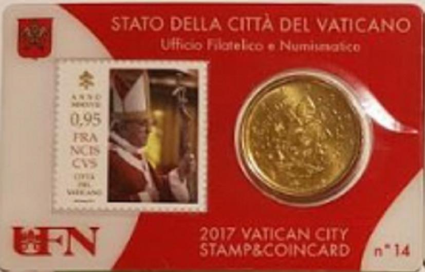 Vaticaanstad 2017 Coincard met postzegel No 14