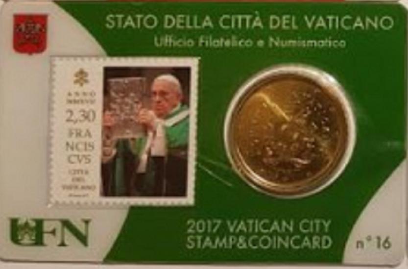 Vaticaanstad 2017 Coincard met postzegel No 16