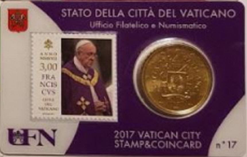 Vaticaanstad 2017 Coincard met postzegel No 17
