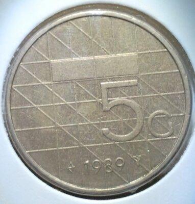 5 Gulden 1989, UNC,