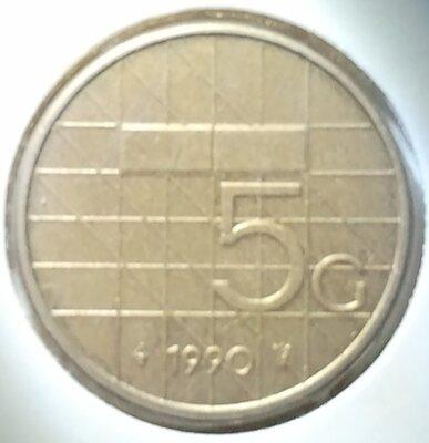 5 Gulden 1990, UNC,