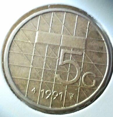 5 Gulden 1991, UNC,