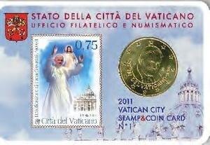 Vaticaanstad 2011 Coincard en Postzegel No 1