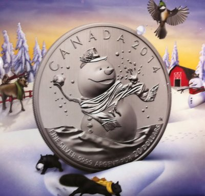 Canada 2014 20 Dollar 'Snowman' zilver, Proof
