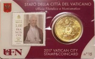 Vaticaanstad 2017 Coincard met postzegel No 15