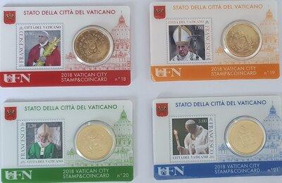 Vaticaanstad 2018 Coincard met postzegel No 18 tot en met 21