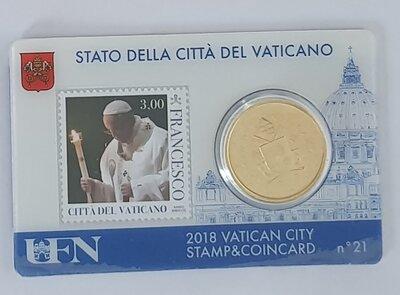 Vaticaanstad 2018 Coincard met postzegel No 21