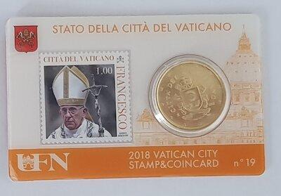 Vaticaanstad 2018 Coincard met postzegel No 19