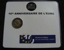 """Frankrijk 2 Euro 2012 """"10 jaar Euro"""", BU in coincard"""