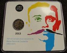 """Frankrijk 2 Euro 2013 """"Pierre de Coubertin"""", BU in coincard"""