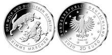 """Duitsland 20 Euro 2020 """"Wolf en de 7 geitjes"""", zilver, UNC (21)"""