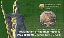 "Ierland 2 Euro 2016 ""Paasopstand"", BU in coincard"