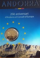 """Andorra 2 Euro 2014 """"20 jaar toetreding Raad van Europa"""", BU in blister"""