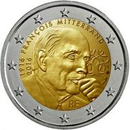 """Frankrijk 2 Euro 2016 """"Francois Mitterrand"""", UNC"""