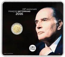 "Frankrijk 2 Euro 2016 ""Francois Mitterrand"", BU in coincard"