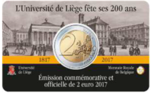 "België 2 Euro 2017 ""Universiteit van Luik"", BU in coincard Frans"