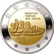 "Malta 2 Euro 2017 ""Hagar Qim"", UNC met F in ster"