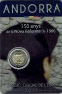 """Andorra 2 Euro 2016 """"150ste verjaardag nieuwe hervorming 1866"""" BU in blister"""