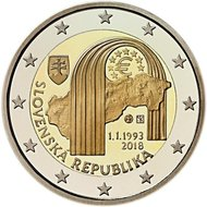 "Slowakije 2 euro 2018 ""25 jaar Republiek"", UNC"