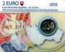 """Slowakije 2 euro 2018 """"25 jaar Republiek"""" BU in coincard"""
