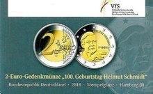 "Duitsland 2 Euro 2018 ""Schmidt"", UNC in coincard J"