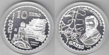 "Spanje 10 euro 2002 ""Gaudi, Proof in capsule"