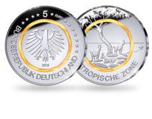 """Duitsland 5 Euro 2018 """"Subtropische Zone"""", UNC, met Oranje polymeerring letterkeuze"""