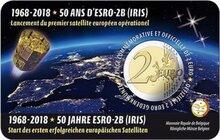 "België 2 Euro 2018 ""Lancering Satelliet ESRO-2B"", BU in coincard Nederlands"