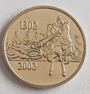 """België 2002 penning uit BU set """"Gulden sporenslag"""", BU"""