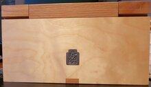 Eikenhouten verzamelkistje voor 12 munten in capsule van 27 mm
