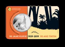 """België 5 Euro 2019 """"90 Jaar Kuifje"""", BU in coincard, lage oplage"""