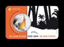 """België 5 Euro 2019 """"90 Jaar Kuifje"""", BU in coincard met kleur, lage oplage"""
