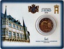 "Luxemburg 2 Euro 2010 ""Wapen van Henri"", BU in coincard"