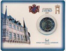 """Luxemburg 2 Euro 2007 """"Paleis Groothertog"""", BU in coincard"""