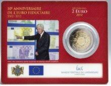 "Luxemburg 2 Euro 2012 ""10 jaar Euro"", BU in coincard"