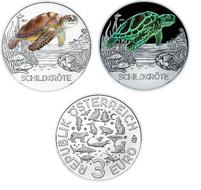 """Oostenrijk 3 euro 2019 """"Schildpad"""", UNC"""
