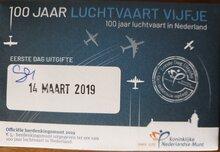 "Nederland 5 Euro 2019 ""Luchtvaart"", EDU in coincard vanaf heden leverbaar (14-3)"
