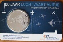 """Nederland 5 Euro 2019 """"Luchtvaart"""", UNC in coincard vanaf heden 14-3 leverbaar"""