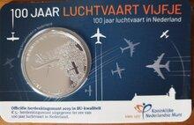 """Nederland 5 Euro 2019 """"Luchtvaart"""", BU in coincard"""